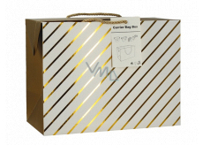 Anděl Gift paper bag box 23 x 16 x 11 cm lockable, with gold stripes