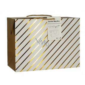 Gift paper bag box 23 x 16 x 11 cm lockable, with gold stripes