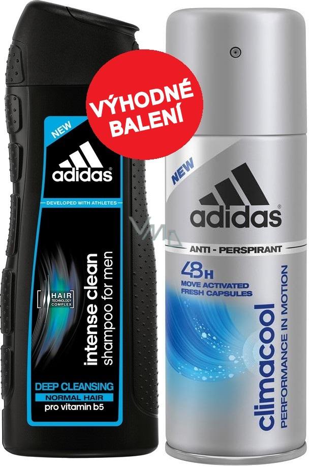 Adidas Climacool 48h antiperspirant deodorant spray for men 150 ml Adidas Intense Clean shampoo for normal hair 200 ml, cosmetic set