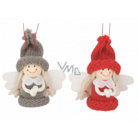 Angel in a knitted hat 7.5 cm for hanging 1 piece