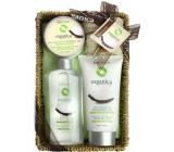 Idc Institute Organic Coconut Oil shower gel 188 ml + body lotion 180 ml + body peeling 60 ml + sisal sponge 1 piece in basket, cosmetic set