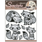 Room Decor Wall Stickers fox with mirror effect and black glitter contour 30,5 x 30,5 cm