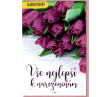 Nekupto Birthday card Purple tulips 115 x 170 mm 3563 G