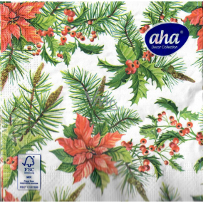 Aha Christmas paper napkins Poinsettia, twigs of needles 3 ply 33 x 33 cm 20 pieces