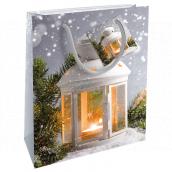 Nekupto Gift paper bag 23 x 18 x 10 cm Christmas silver lantern WBM 1925 02