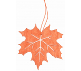 Leaf made of wooden orange for hanging 10 cm