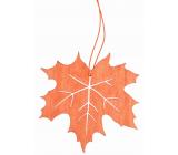 Wooden orange leaf for hanging 10 cm