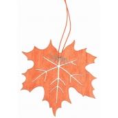 Leaf made of wooden orange for hanging 10 cm