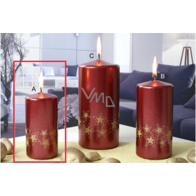 Lima Starlight candle red / gold 50 x 100 mm 1 piece