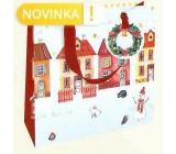 Nekupto Gift paper bag luxury 18 x 16 cm Houses Christmas WLIS