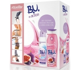 B.U. In Action Sensitive antiperspirant deodorant sprej pro ženy 150 ml + In Action Yogurt + Fig sprchový gel 250 ml, kosmetická sada