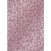 Ditipo Vánoční balicí papír růžový krajkový vzor 100 x 70 cm 2061002 2 kusy