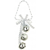 Silver jingle bells with polka dot decor 3 x 3 cm, 22 cm