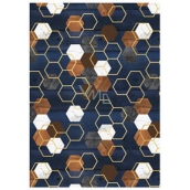 Ditipo packing papers 2pcs 70x100cm - dark blue brown white hexagons
