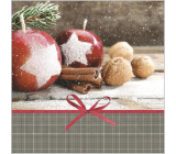 Nekupto Paper napkins 3 ply 33 x 33 cm 20 pieces gray with red apples, cinnamon, nuts