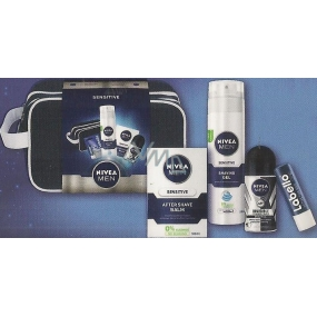 Nivea Men Sensitive balzám po holení 100 ml + gel na holení 200 ml + antiperspirant roll-on 50 ml + balzám na rty 4,8 g, kosmetická sada
