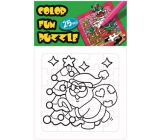 Collage coloring book Christmas theme Santa and tree 25 pieces 18 x 12 cm