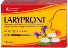 Favea Larypront with orally soluble sage oil to soothe the neck of 12 tablets