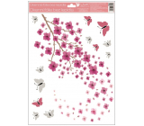 Window foil 1 branch of pink flowers with glitter 30 x 42 cm
