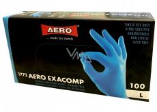 Aero Exacomp Hygienic disposable nitrile gloves anti-allergenic powder-free, size L, box 100 pieces blue