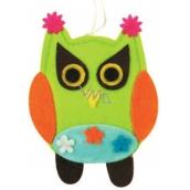 Felt owl with flowers 10 cm