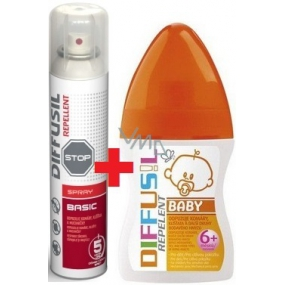 Diffusil Repellent Basic repellent for repelling mosquitoes, ticks and flies fly 200 ml + Diffusil Baby repellent 100 ml
