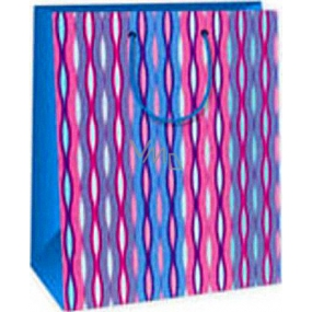Ditipo Gift paper bag 26.4 x 13.7 x 32.4 cm pink-blue-green waves AB