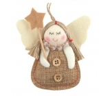 Jute angel with a star for hanging 9 cm No.2