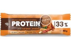 Allnature Proteinová nízkosacharidová tyčinka 33% karamel a arašídy 45 g