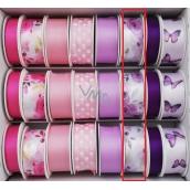 Ditipo Ribbon satin 3 mx 25 mm purple flowers