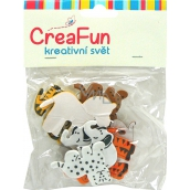 CreaFun Samolepicí dekorace Zvíře mix barev 40 x 32, 53 x 49 mm 12 kusů