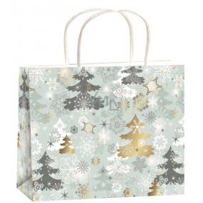 Angel Christmas gift bag silver-trees M horizon 23 x 18 x 10 cm