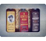 Bohemia Gifts Gentleman shower gel for men 250 ml + Whiskey shower gel for men 250 ml + Rum shower gel for men 250 ml, tin box cosmetic set