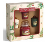 Yankee Candle Magical Christmas Morning Unwrap The Magic - Expand the magic scented candle Classic small glass 104 g + Singing Carols - Singing Carols + Holiday Hearth - Holiday fireplace + Surprise Snowfall - Snow surprise scented votive candle 3 x 49 g, Christmas gift set