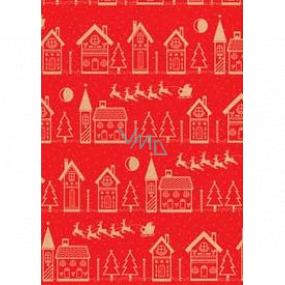 Ditipo Gift wrapping paper 70 x 200 cm Christmas KRAFT red beige houses