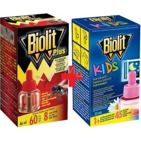 Biolit Plus Evaporator liquid replacement cartridge 60 nights against flies and mosquitoes 46 ml + Biolit Kids Electric mosquito vaporizer 45 nights replacement cartridge 35 ml
