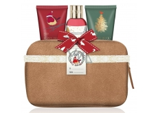 Baylis & Harding Mulberry, mistletoe and Christmas tree shower cream 100 ml + body lotion 50 ml + hand cream 50 ml + beige suede toilet bag cosmetic set