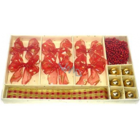 Christmas set of 6 bows, 6 flasks, ribbon, chain red decor 1 piece