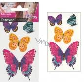 Tattoo decals with glitter Butterflies 10.5 x 6 cm