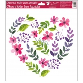 Room Decor Window foil without glue with glitter hearts No.2 30 x 30 cm
