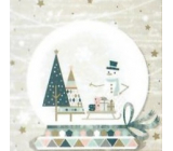 Nekupto Paper napkins 3 ply 33 x 33 cm 20 pieces snowdrop, snowman, trees, sleigh with gifts