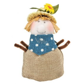 Jute scarecrow in a straw hat standing 11 cm