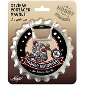 Nekupto Hobby 3in1 opener, coaster, magnet Passionate biker 10 cm