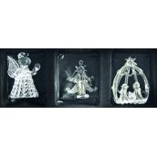 Angel, tree, crib 6 cm Set of glass 3 pieces