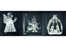 Angel, tree, nativity scene 6 cm Set of glass 3 pieces