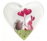 Magnet - white Hedgehog pink balloons