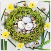 Aha Easter paper napkins 3 ply 33 x 33 cm 20 pieces green wreath, daffodils, tulips 33 x 33 cm 3 ply 20 pieces