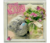 Greeting Card In 3D Bear with Flower Puget