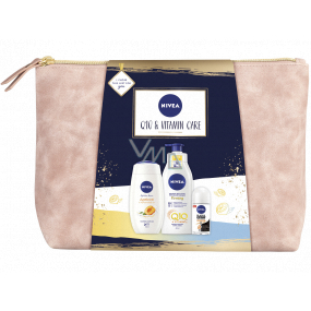 Nivea Q10 & Vitamin Care body lotion 400 ml + shower gel 250 ml + roll-on deodorant 50 ml + case, cosmetic set for women
