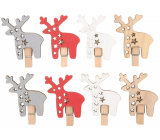 Wooden reindeer on a peg red-silver-white-beige 4.5 cm 8 pieces